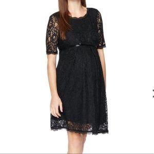 Maternity Black lace dress w/ belt size Medium